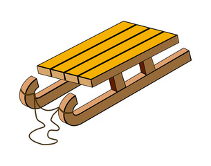 sled, wooden sledge vector symbol icon design.