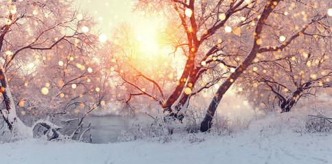 Sunny Christmas morning. Sun illuminate snowflakes.