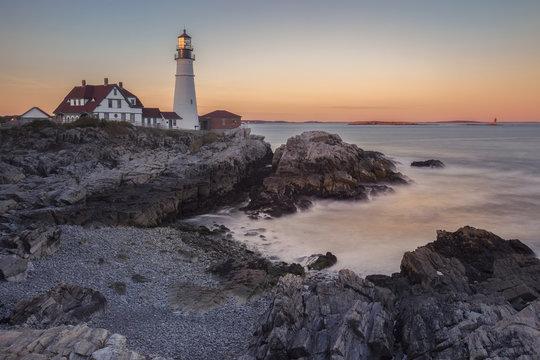 Portland Head Lighthouse at sunset, Cape Elizabeth, Maine, USA