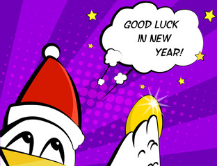 Good luck in New Year. Vector card with rooster in Santa hat, egg and greeting text. Сomics style.