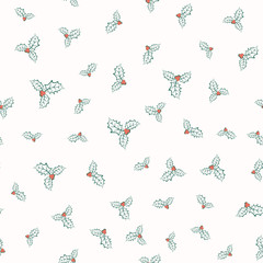 Vector illustration of holly plant pattern
