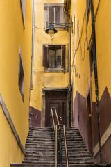 Scenic street in Ribeira district, Porto, Portugal