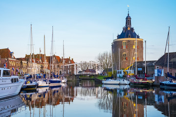 Netherlands, North Holland, Enkhuizen. Drommedaris tower, historic former city gate at the entrance to Oude Haven (Old Harbor).
