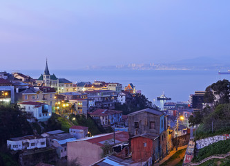 Chile, Valparaiso, Elevated view of the historic quarter Cerro Concepcion, declared as the UNESCO World Heritage Site.