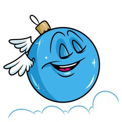 Christmas ball sky clouds wings flight cartoon illustration isolated image character