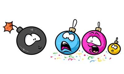 Bomb balls Christmas holiday cartoon illustration isolated image character