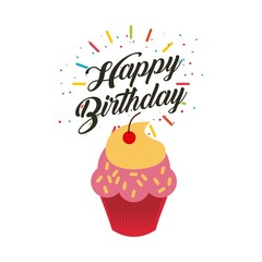 happy birthday card with sweet cupcake icon. colorful design. vector illustration