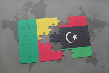 puzzle with the national flag of benin and mozambique on a world map