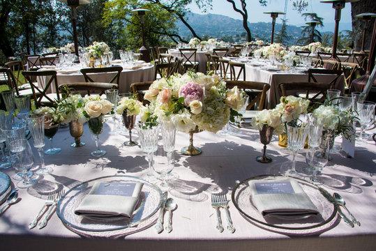 wedding reception set up hollywood mansion