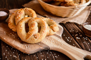 Whole meal pretzels with sesame and salt