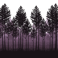 Vector pine forest landscape. Beautiful hand drawn illustration - dark forest with pine trees, outdoor scene in black and white. Made using clipping mask, you can change image