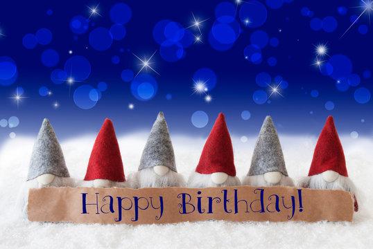 Gnomes, Blue Background, Bokeh, Stars, Text Happy Birthday