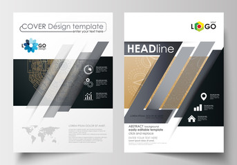 Templates for brochure, magazine, flyer, booklet. Cover design template, flat layout in A4 size. Golden technology background, connection structure with connecting dots and lines, science vector.