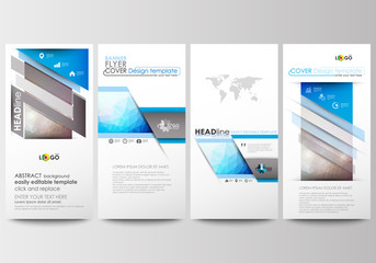 Flyers set, modern banners. Business templates. Cover design template, easy editable, flat layouts. Abstract triangles, blue triangular background, colorful polygonal pattern.