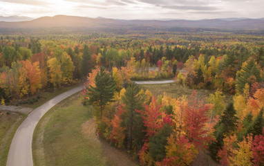 Aerial view of White Mountains National Forest, New Hampshire, Lincoln, New England