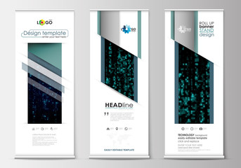 Set of roll up banner stands, flat design templates, geometric style, corporate vertical vector flyers. Virtual reality, code streams glowing on screen, abstract technology background with symbols.