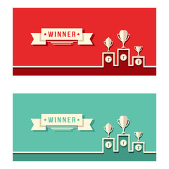 Winner Podium Achievement Simple Vector Banner Background
