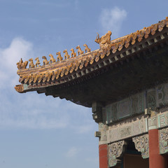 A detailed design on a roof at the Forbidden City, Beijing.