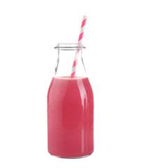 Fresh berry milkshake in glass bottle isolated on white