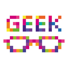 Geek glasses colored pixels computer logo