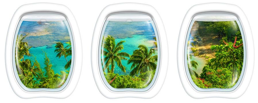 Three plane windows on Kee Beach, Kauai, Hawaii, United States, from a plane on the porthole windows. Copy space.