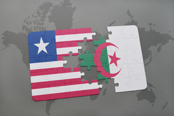 puzzle with the national flag of liberia and algeria on a world map
