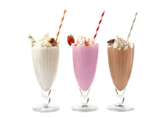 Aluminium Prints Milkshake Delicious milkshakes isolated on white