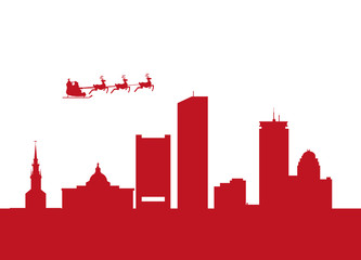 santa flying over the city of boston