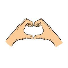 Hands heart symbol vector.