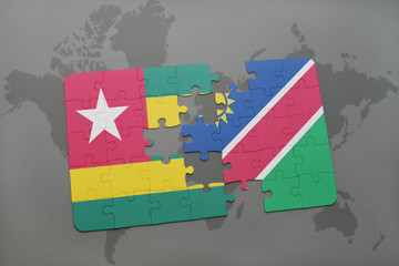puzzle with the national flag of togo and namibia on a world map