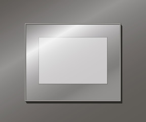 An empty aluminum frame on the wall, editable template, vector illustration