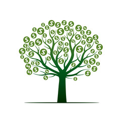 Vector Tree and Sign of Dollar. Vector Illustration.