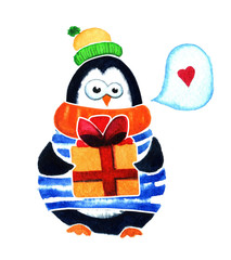Cute penguin with gift dreams about love. Cartoon babies and little kids. Watercolor illustration isolated on white background