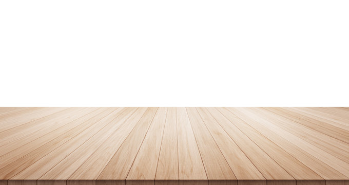 Empty wood table top isolated on white background for display or montage product