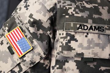 Military chevron on uniform of American soldier
