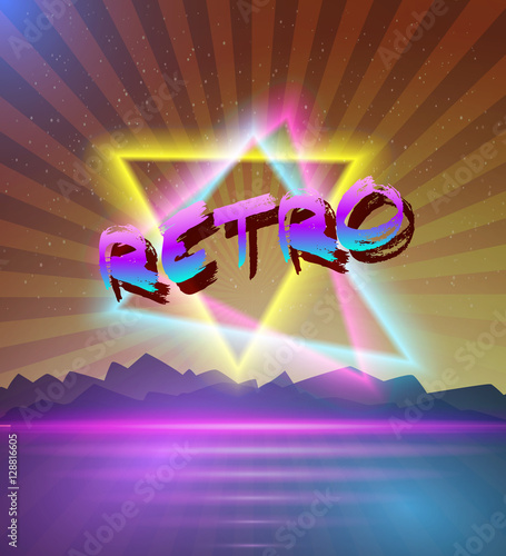 Illustration of Retro Music Abstract Poster Cover 1980s