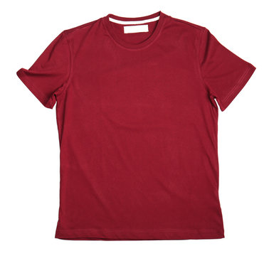 Blank maroon t-shirt on white background