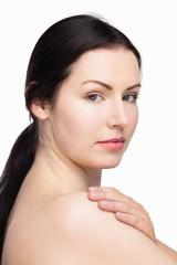 Beautiful woman posing with natural makeup