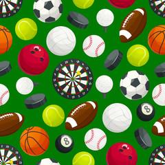 Sports gaming ball items seamless pattern