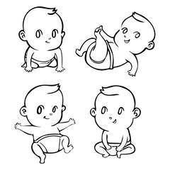 cute cartoon little babies set outline, Vector illustration
