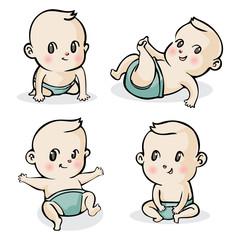 cute cartoon little babies set, Vector illustration