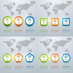 Collection of colorful business infographics and diagram, light
