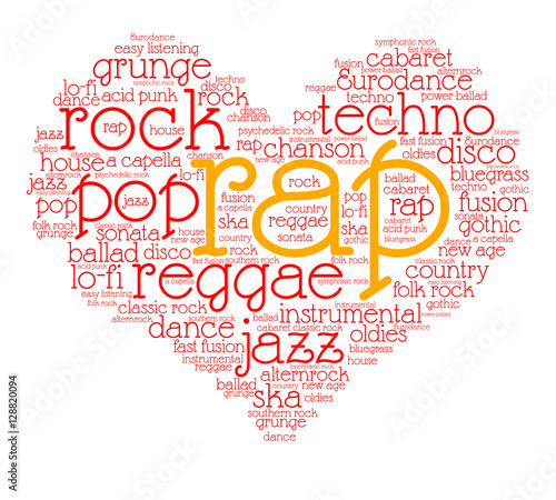 Rap  Word cloud, heart, italic font, gradient grey