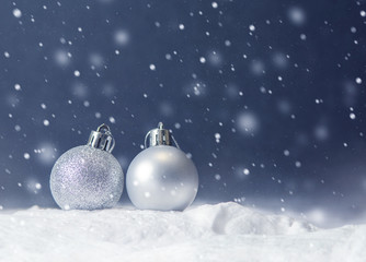 Fototapete - Christmas white balls and snowflake on abstract background holiday, copy space, Winter
