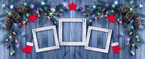 Christmas background with photo frame, illumination, glowing sta