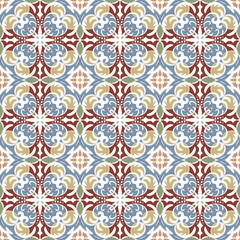 Printed kitchen splashbacks Moroccan Tiles seamless vintage pattern