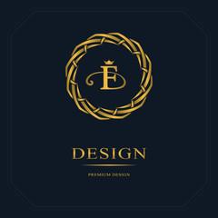 Monogram design elements, graceful template. Calligraphic elegant line art logo design. Letter emblem sign F for Royalty, business card, Boutique, Hotel, Heraldic, Jewelry. Vector illustration