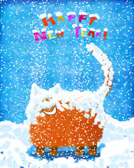 Fully Snowed Up Smiling Cat On Blue Background
