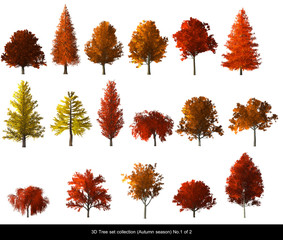 Red leaf Tree Autumn season set for architecture landscape design, 3D Tree isolated on white No.1