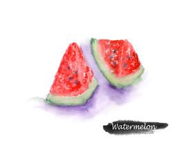 Watercolor watermelon. Hand drawn sliced watermelon illustration